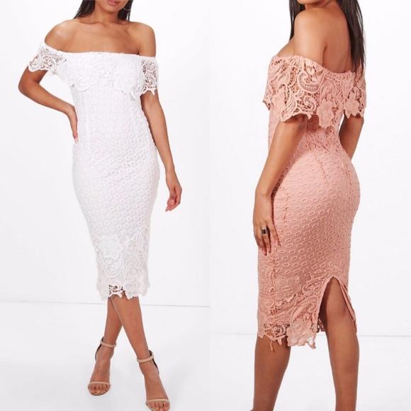 832612cfd3df Boohoo Dresses & Skirts - Boohoo Boutique Ivory Lace Off Shoulder Midi Dress